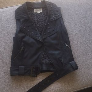 Gray Faux Leather Vest